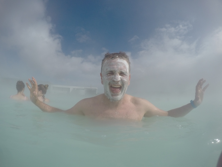 Dr. Cam Owens, our awesome professor enjoying the Blue Lagoon!