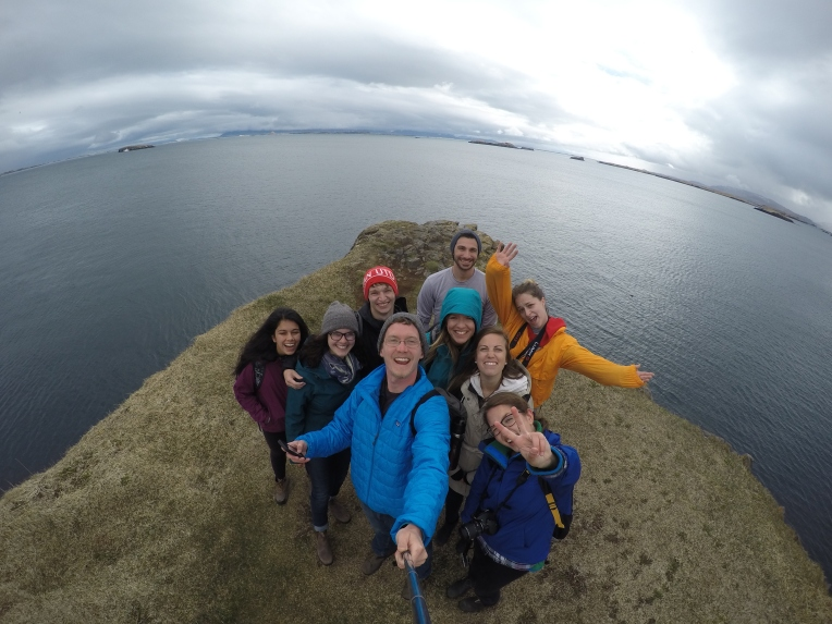 GoPro selfie on the top of a cliff near a little fishing village