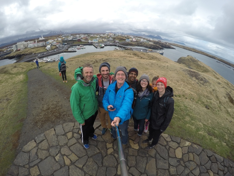 GoPro selfie with the village in the background