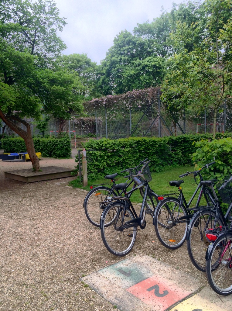 Bike parking outside the nature school